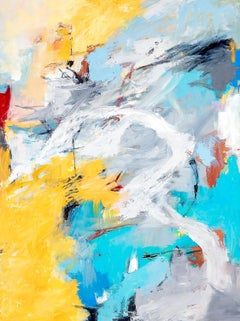 """""""Passages"""" Colorful Expressionist Ptg.Turquoise Yellow Ochre, Gray, White, Black"""