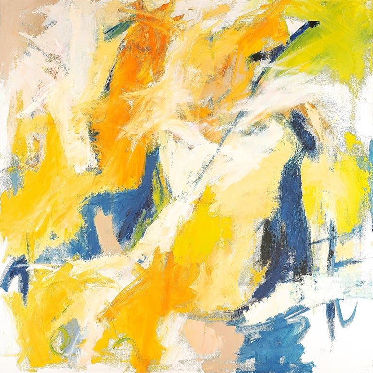 """Cathy Bennigson Abstract Painting - """"Peaches and Pears"""" Abstraction in Yellow, White, Blue, Chartreuse, Blue, Black"""