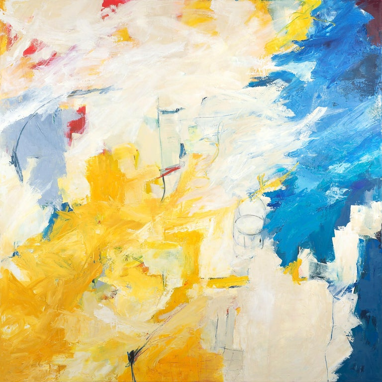 """Cathy Bennigson Abstract Painting - """"Puzzle Pieces"""" Colorful Expressionist Abstract Yellow Ochre/Turquoise/White/Red"""
