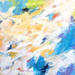 """Splash ""  Gestural Abstraction in White, Blue, Chartreuse and Orange"