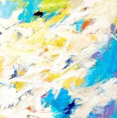 """Splash "" Colorful Expressionist Ptg White/Turquoise/Chartreuse/ Orange/Lavender"