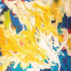 """""""Squiggles"""" Expressionist Abstraction in Yellow, White, Blue, Chartreuse and Red"""
