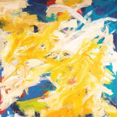 """Sunburst""  Gestural Abstraction in Yellow, White, Blue, Chartreuse and Red"