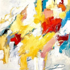 """Sunday Splash""Expressionist Abstract Red/Yellow/Blue/White/Gray/Black/Turquoise"