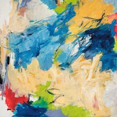 """Surprise Me""  Gestural Abstraction in Blue, White, Red, Green, Yellow Ochre"