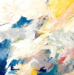 """""""Tranquility"""" Abtsract Expressionist Ptg.  White/Lavender/Blue/Yellow/Red/Black"""