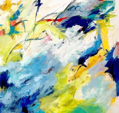 """""""T's and O's""""  Bright Colorful Large Expressionist Ptg. in Blues/Chartreuse/ Red"""