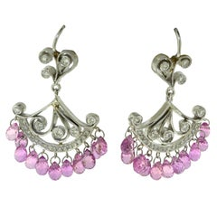 Cathy Carmendy Diamond Pink and Sapphire in Platinum and Gold Dangle Earrings