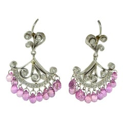 Cathy Carmendy Pink Sapphire and Diamond Platinum and White Gold Earrings