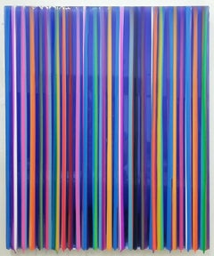 S1903 glossy multi colored striped painting