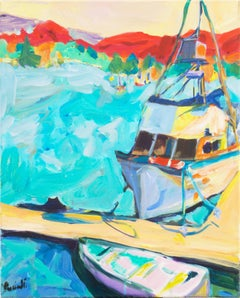 'Post-Impressionist Harbor Scene', California Woman Artist, Santa Cruz