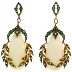 Cathy Waterman Coral Yellow Gold Earrings with Emerald and Diamond Accents