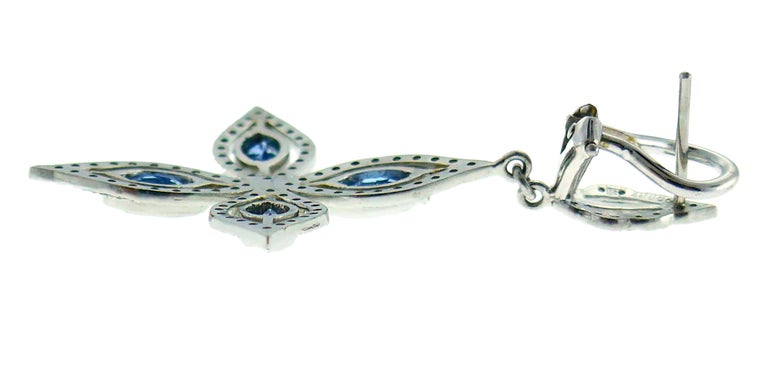 Women's Cathy Waterman Platinum Earrings with Blue Topaz and Diamond For Sale