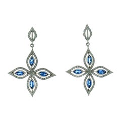 Cathy Waterman Platinum Earrings with Blue Topaz and Diamond