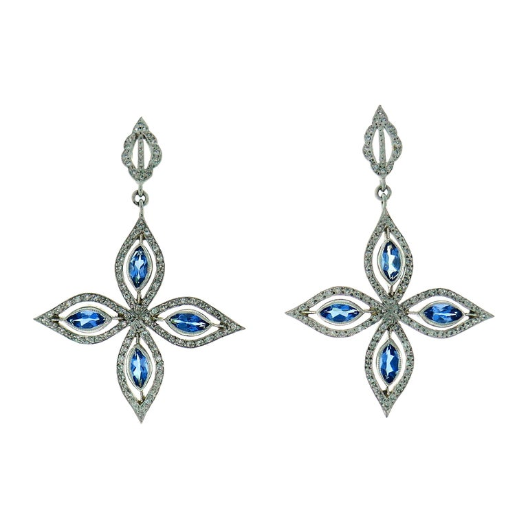 Cathy Waterman Platinum Earrings with Blue Topaz and Diamond For Sale