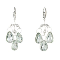 Cathy Waterman Prasiolite Diamond Earrings Leaf Triple Drop Estate Fine Jewelry