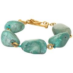 Cathy Waterman Turquoise Bracelet Estate 22 Karat Gold Fine Designer Jewelry