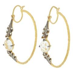 Cathy Waterman White Topaz & Diamond Hoop Earrings, 22k Gold Pierced .10 Carat
