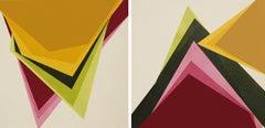 Diptych Geometric, Painting, Acrylic on Canvas
