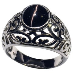 Cats Eye Cabochon Sillimanite Silver Ring