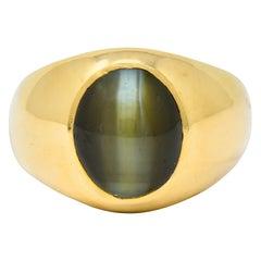 Cat's Eye Chrysoberyl 18 Karat Yellow Gold Unisex Ring
