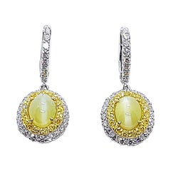 Cat's Eye Chrysoberyl, Diamond and Yellow Diamond Earrings in 18k White Gold