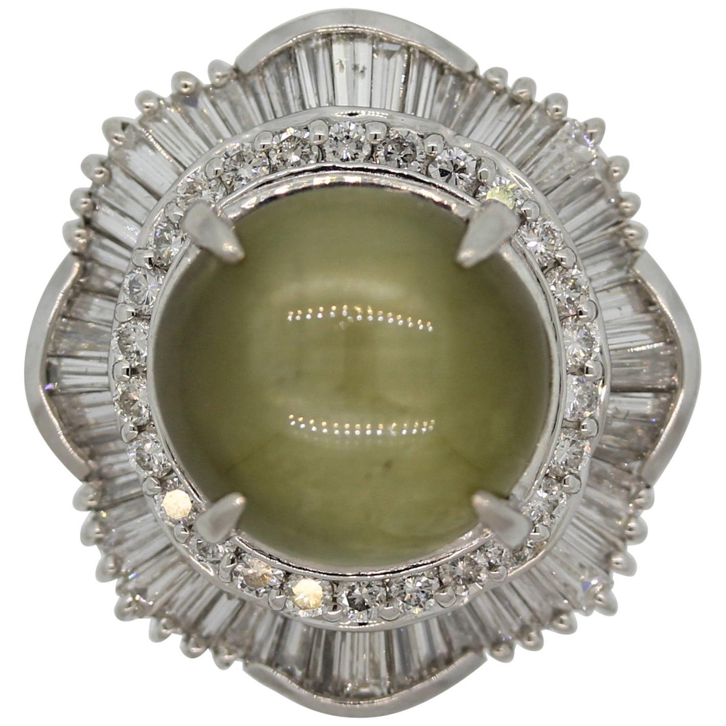 Cat's Eye Chrysoberyl Diamond Platinum Cocktail Ring