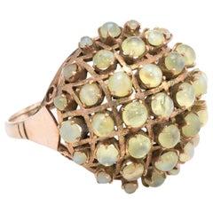 Cats Eye Chrysoberyl Dome Ring Vintage 10 Karat Yellow Gold Estate Fine Jewelry