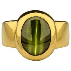 Cat's Eye Chrysoberyl Rare Acid Green 11.5 Carat and 22 Karat Gold