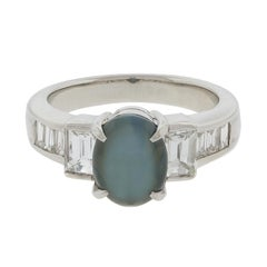 Cat's Eye Chrysoberyl Diamond Platinum Ring