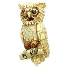 Cat's Eye Enamel and 18k Yellow Gold Owl Brooch by Tiffany & Co