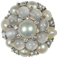 Cat's Eye Moonstone Pearl White Gold Bombe Ring