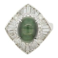Cat's Eye Tourmaline Diamond Platinum Ring