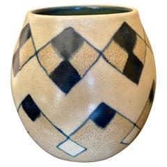 Catteau Boch Freres Art Deco Geometric Stoneware Vase