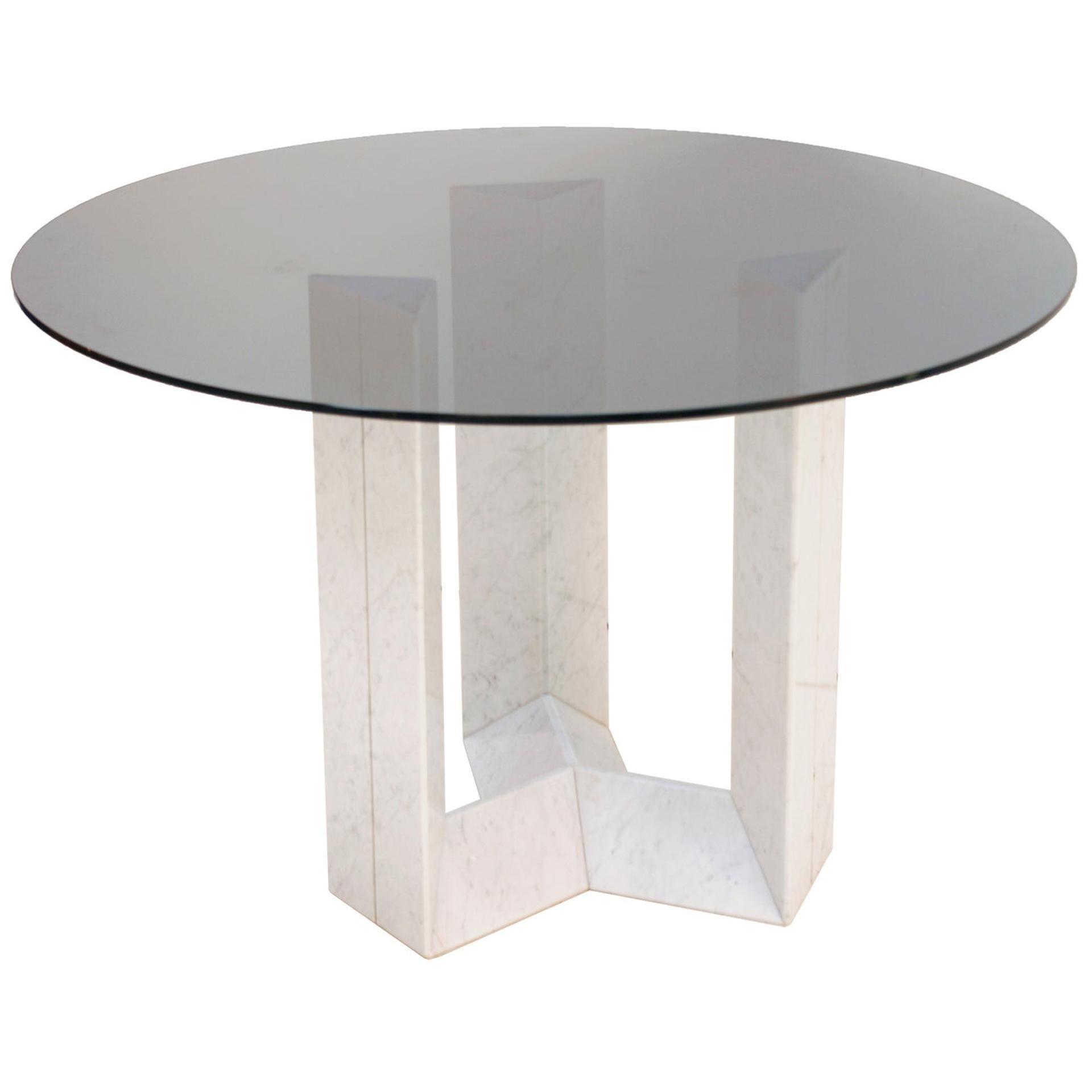 Cattelan Italia Carrara Marble and Smoked Glass Italian Table