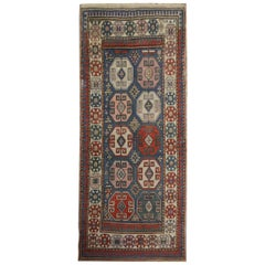 Caucasian Antique Handmade Carpet Red and Blue Wool Entrance Rug Oriental