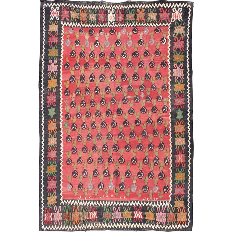 Caucasian Kilim Rug: Fine Weave Caucasian Kilim Carpet With Colorful All-Over
