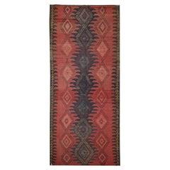 Caucasian Kilim Rug, Handmade Carpet Red Blue Wool Runner Rug