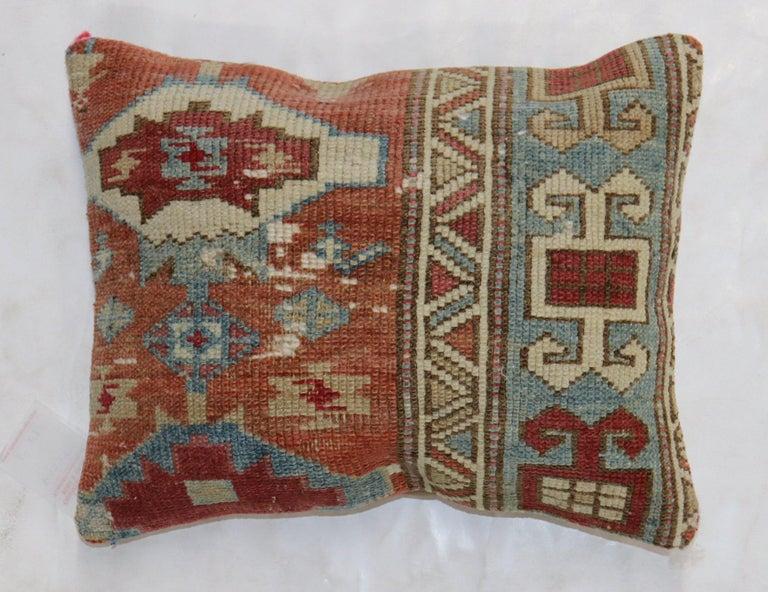 Asian Caucasian Rug Rustic Pillow For Sale