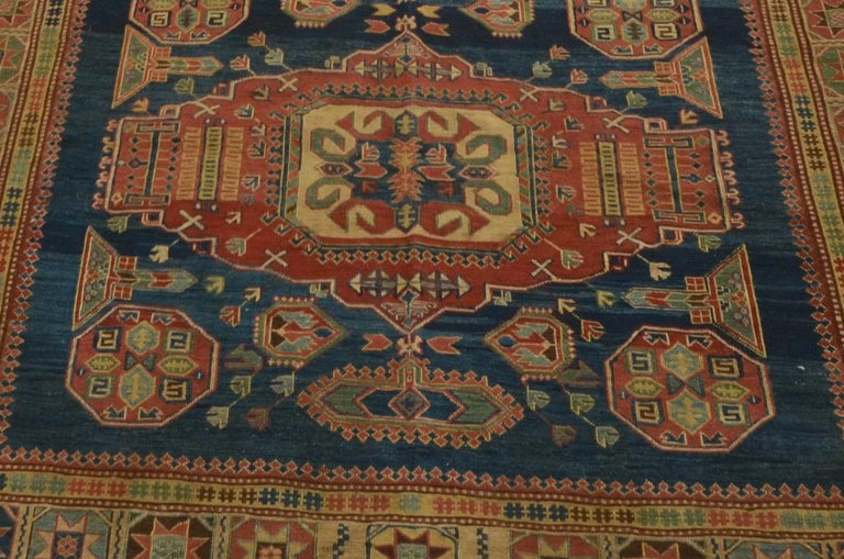 Classic Caucasian Sulmak design. Brocaded in truly rich blues and terracotta vegetable dyes.