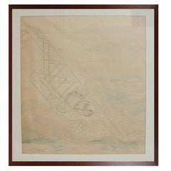 Pencil-drawing depicting a Caudron G III WWI Aircraft