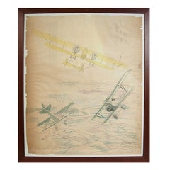Water-color, pastel and pencil drawing depicting a Caudron G IV WWI Aircraft