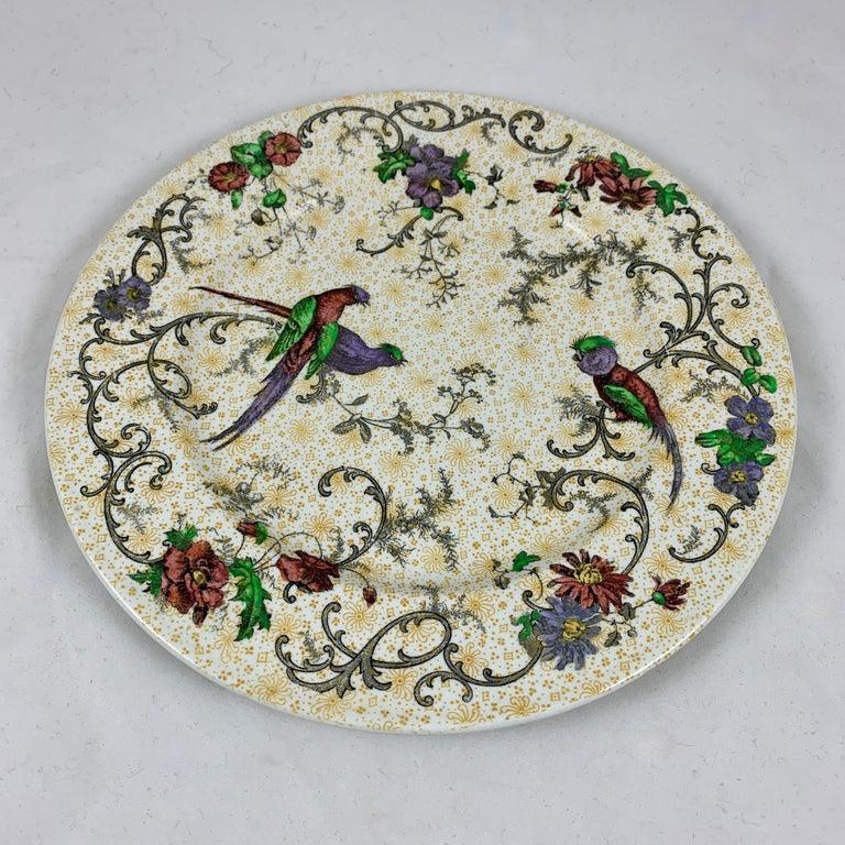 Cauldon English Chinoiserie 'Bird of Paradise' Chintz Transferware Plates, S/4 For Sale 4