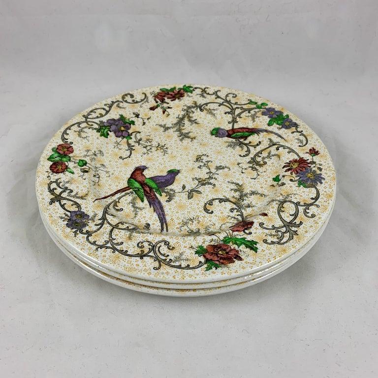Cauldon English Chinoiserie 'Bird of Paradise' Chintz Transferware Plates, S/4 For Sale 5