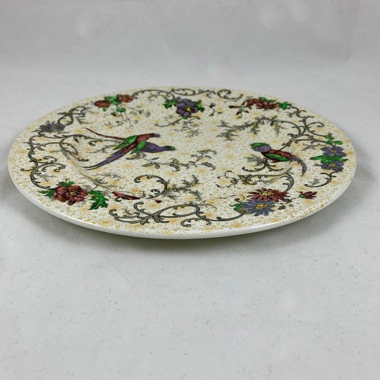 Cauldon English Chinoiserie 'Bird of Paradise' Chintz Transferware Plates, S/4 For Sale 6