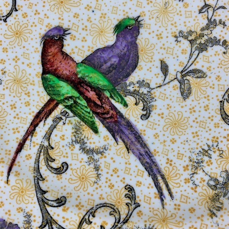 Glazed Cauldon English Chinoiserie 'Bird of Paradise' Chintz Transferware Plates, S/4 For Sale
