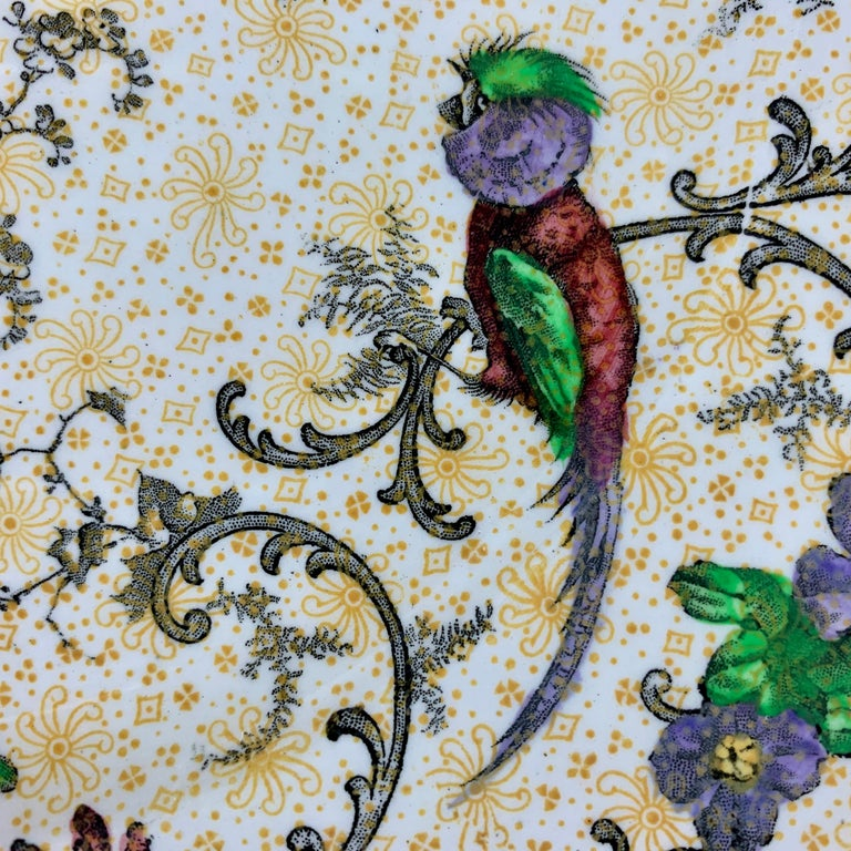 Cauldon English Chinoiserie 'Bird of Paradise' Chintz Transferware Plates, S/4 In Good Condition For Sale In Philadelphia, PA