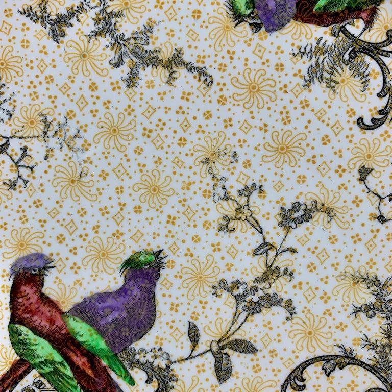 20th Century Cauldon English Chinoiserie 'Bird of Paradise' Chintz Transferware Plates, S/4 For Sale