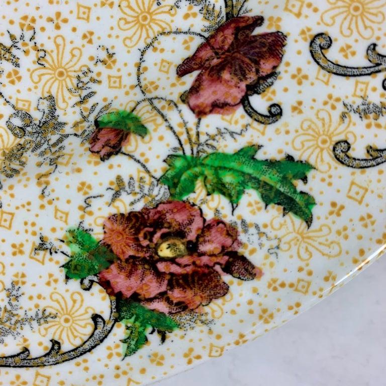 Ceramic Cauldon English Chinoiserie 'Bird of Paradise' Chintz Transferware Plates, S/4 For Sale