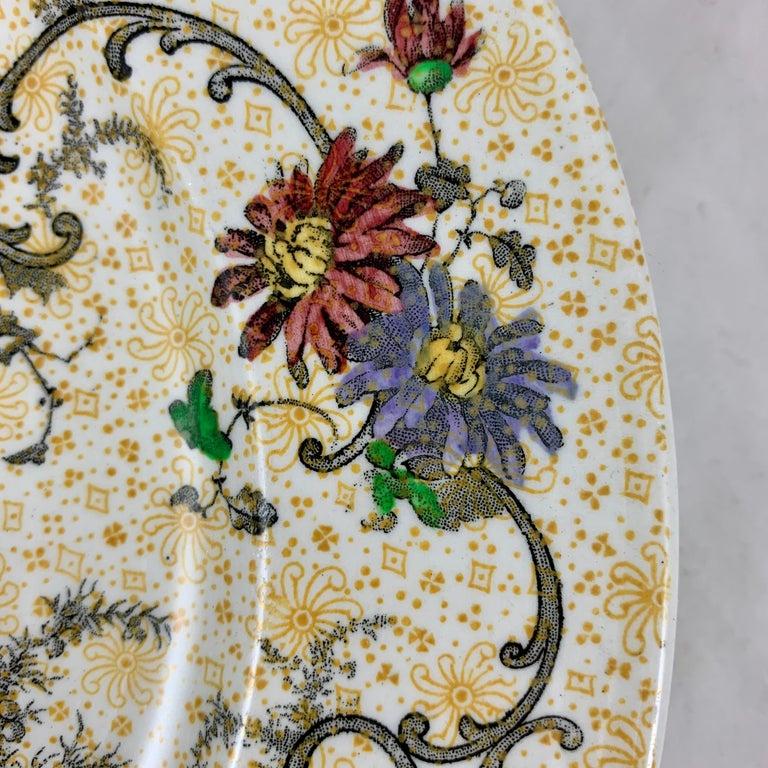 Cauldon English Chinoiserie 'Bird of Paradise' Chintz Transferware Plates, S/4 For Sale 1